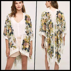 Anthropologie Terceira Floral Velvet Kimono